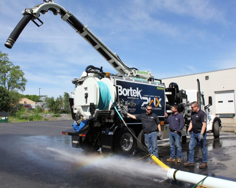 Aquatech B-10 Jet/Vac Sewer Cleaning Truck using Jetter Hose Nozzle