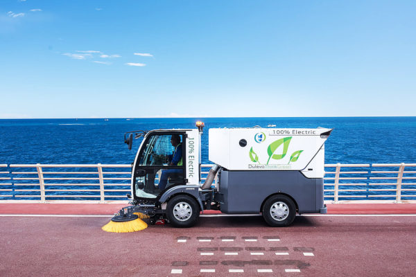 Dulevo D.Zero2 Electric Street Sweeper on road by the ocean