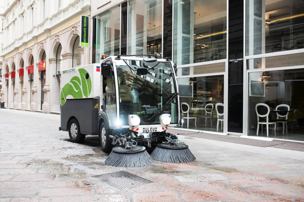 Dulevo D.Zero2 Electric Street Sweeper with lights on