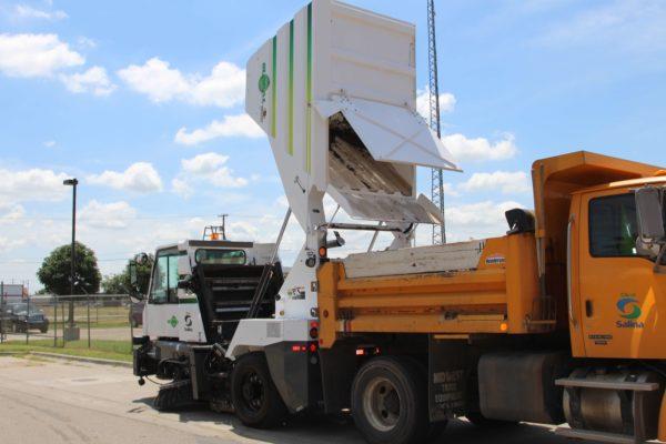 Global M3 Street Sweeper Raised Hopper Dump