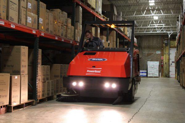 PowerBoss Atlas Sweeping in a Warehouse