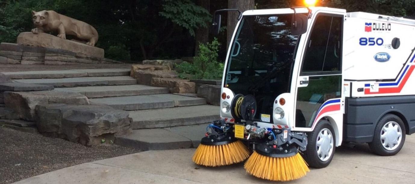 Dulevo 850 Mini Street Pedestrian Path Sweeper at Penn State Campus