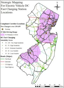 Map of New Jersey showing plan for electric vehicle charging stations